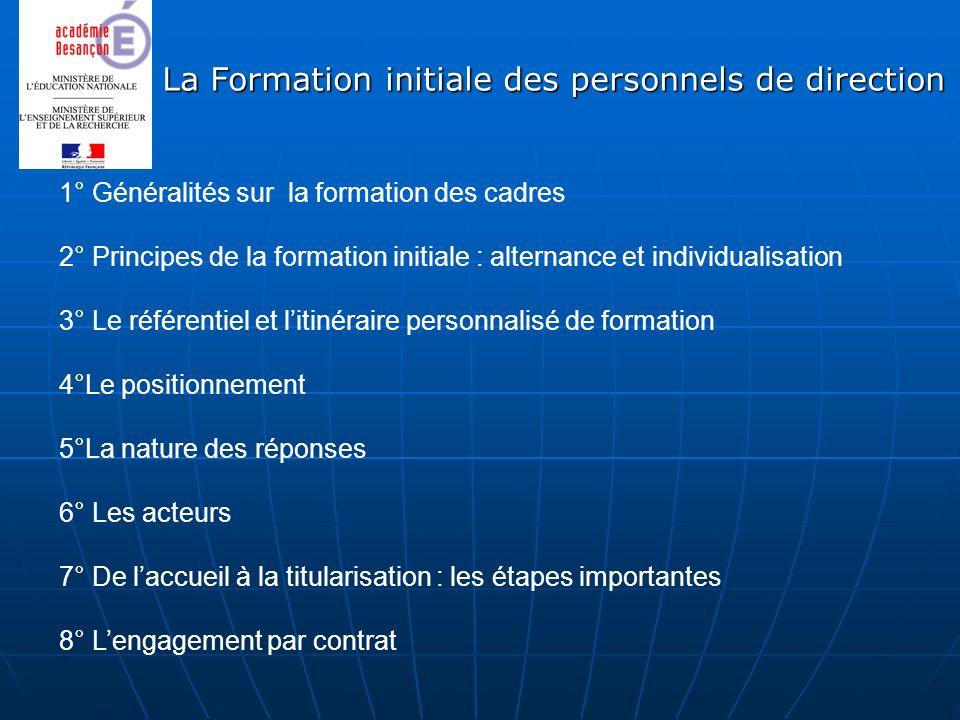 La Formation initiale des personnels de direction 1° Généralités sur la formation des cadres 2° Principes de la formation initiale : alternance et ind