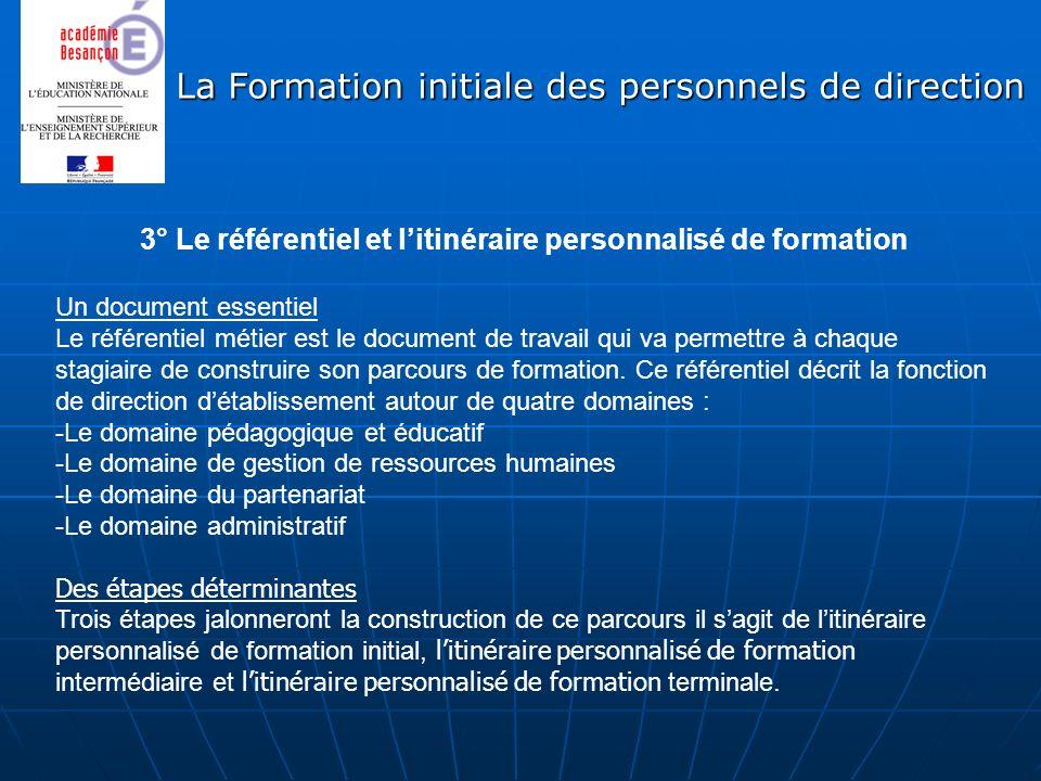 La Formation initiale des personnels de direction 3° Le référentiel et litinéraire personnalisé de formation Un document essentiel Le référentiel méti