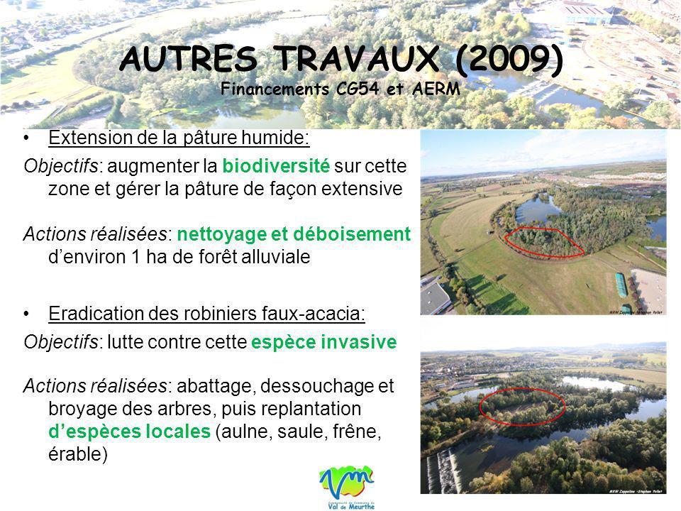 AUTRES TRAVAUX (2009) Financements CG54 et AERM Extension de la pâture humide: Objectifs: augmenter la biodiversité sur cette zone et gérer la pâture