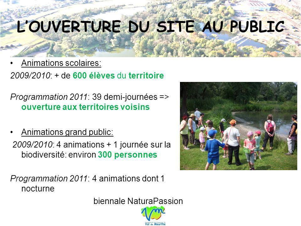 LOUVERTURE DU SITE AU PUBLIC Animations scolaires: 2009/2010: + de 600 élèves du territoire Programmation 2011: 39 demi-journées => ouverture aux terr