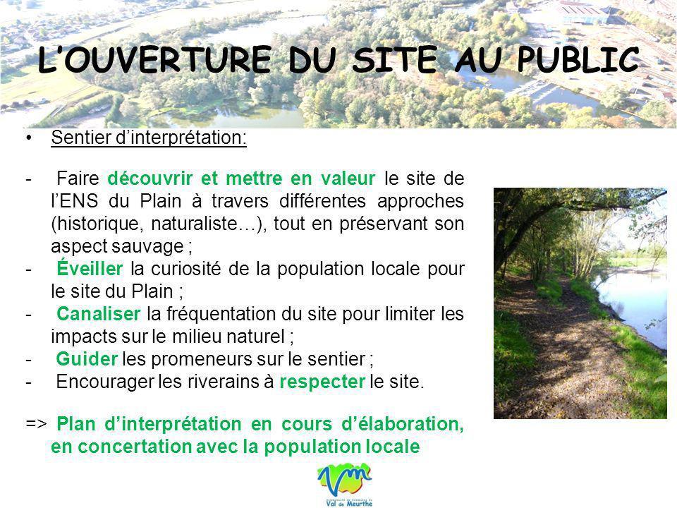 LOUVERTURE DU SITE AU PUBLIC Sentier dinterprétation: - Faire découvrir et mettre en valeur le site de lENS du Plain à travers différentes approches (