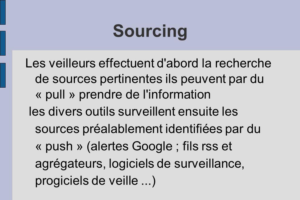 Sourcing Les veilleurs effectuent d abord la recherche de sources pertinentes ils peuvent par du « pull » prendre de l information les divers outils surveillent ensuite les sources préalablement identifiées par du « push » (alertes Google ; fils rss et agrégateurs, logiciels de surveillance, progiciels de veille...)