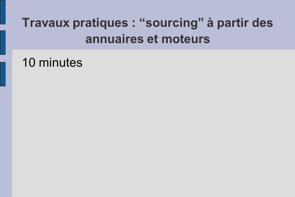 Travaux pratiques : sourcing à partir des annuaires et moteurs 10 minutes