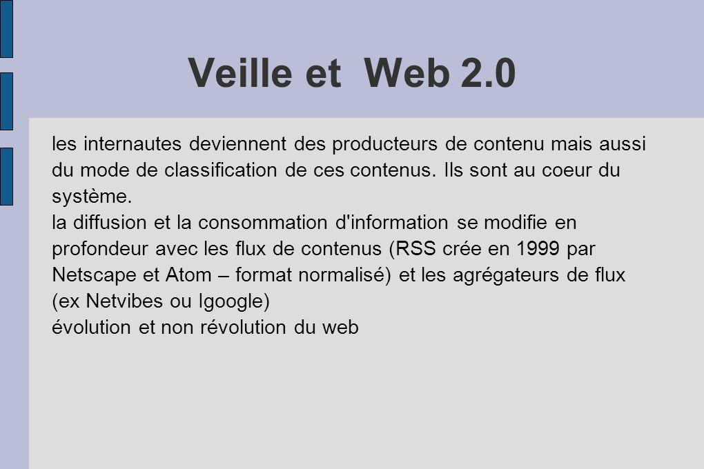 Veille et Web 2.0 les internautes deviennent des producteurs de contenu mais aussi du mode de classification de ces contenus.