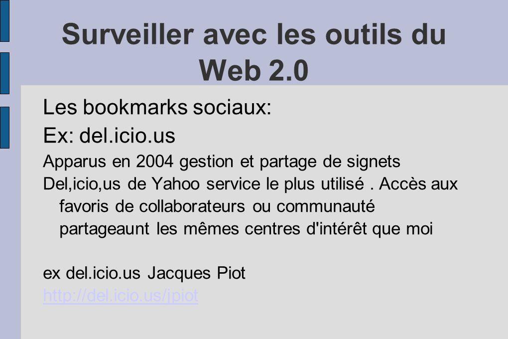 Surveiller avec les outils du Web 2.0 Les bookmarks sociaux: Ex: del.icio.us Apparus en 2004 gestion et partage de signets Del,icio,us de Yahoo service le plus utilisé.