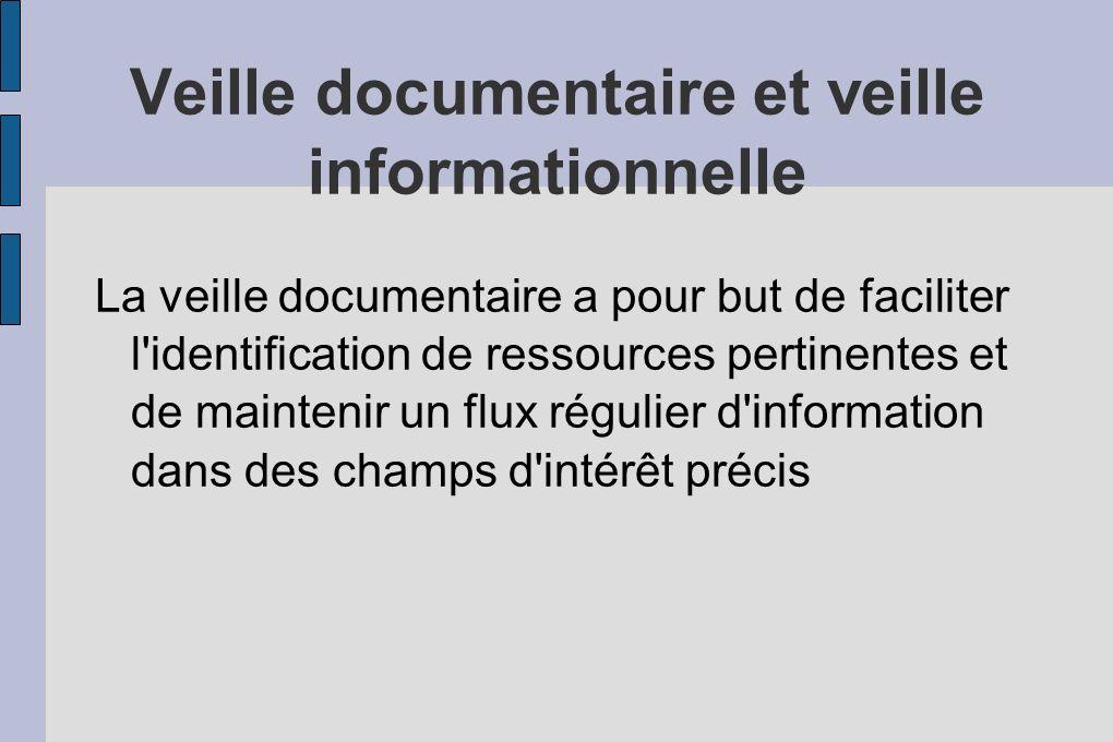 Veille informationnelle La veille informationnelle est une activité de collecte, de sélection d analyse et de diffusion d information réalisée par les professionnels de l information pour alimenter la communauté éducative en information pertinente