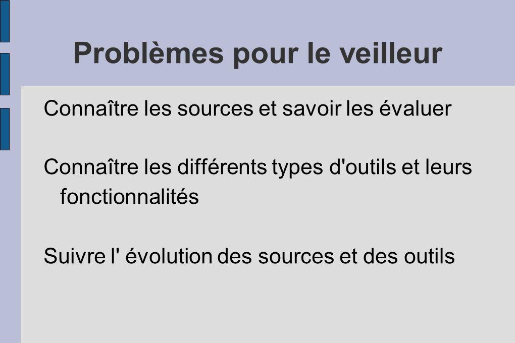 Problèmes pour le veilleur Connaître les sources et savoir les évaluer Connaître les différents types d outils et leurs fonctionnalités Suivre l évolution des sources et des outils