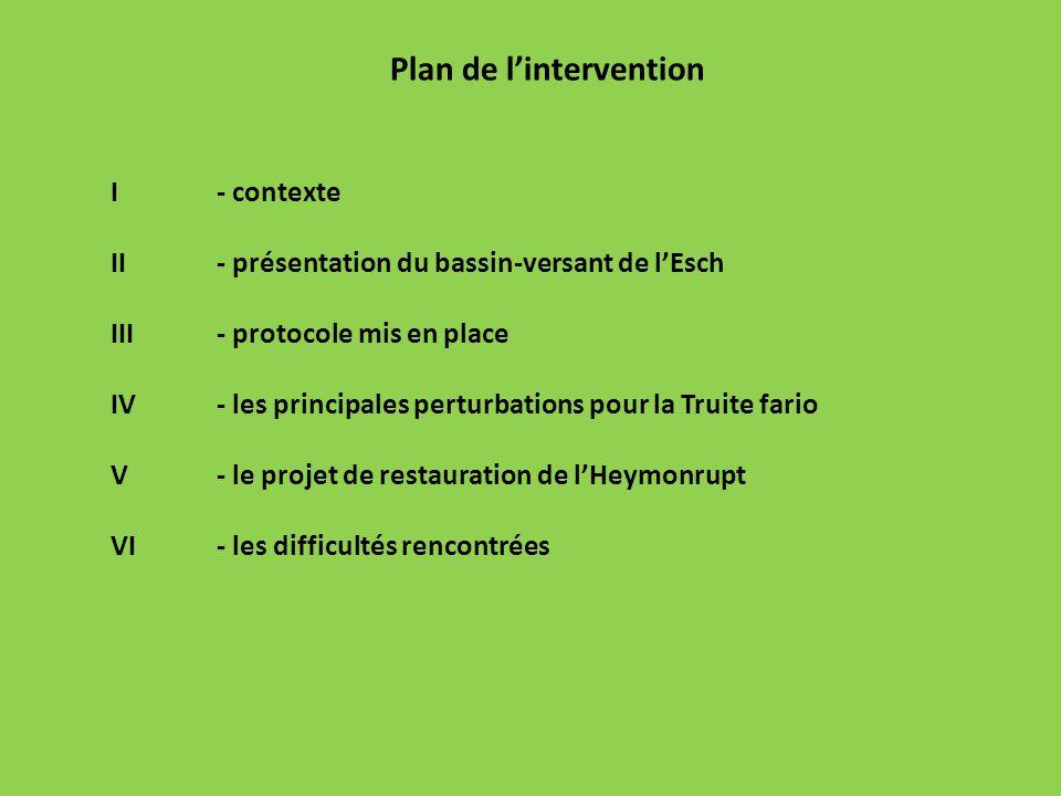 Plan de lintervention I- contexte II - présentation du bassin-versant de lEsch III - protocole mis en place IV - les principales perturbations pour la