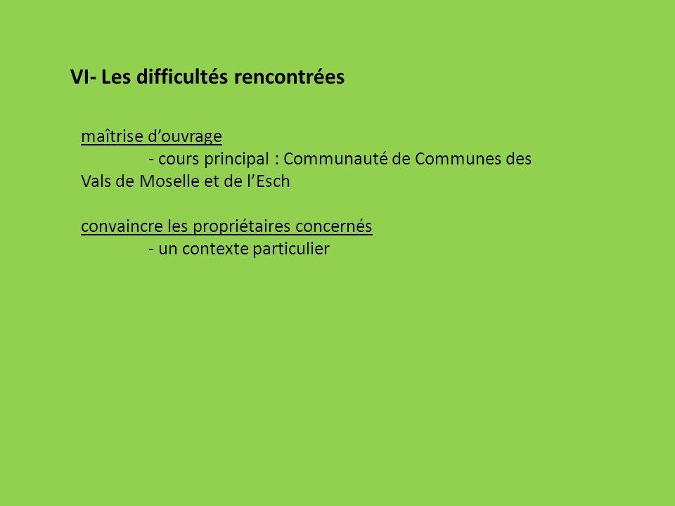 VI- Les difficultés rencontrées maîtrise douvrage - cours principal : Communauté de Communes des Vals de Moselle et de lEsch convaincre les propriétai