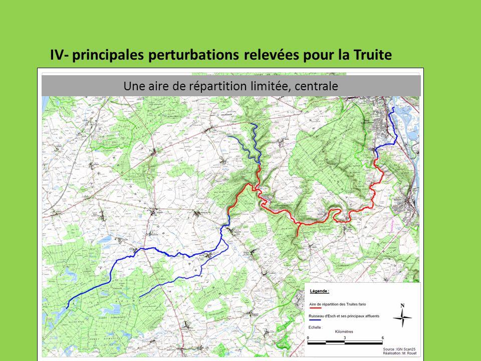 IV- principales perturbations relevées pour la Truite fario Peu de frayères et accès perturbé Source : P.