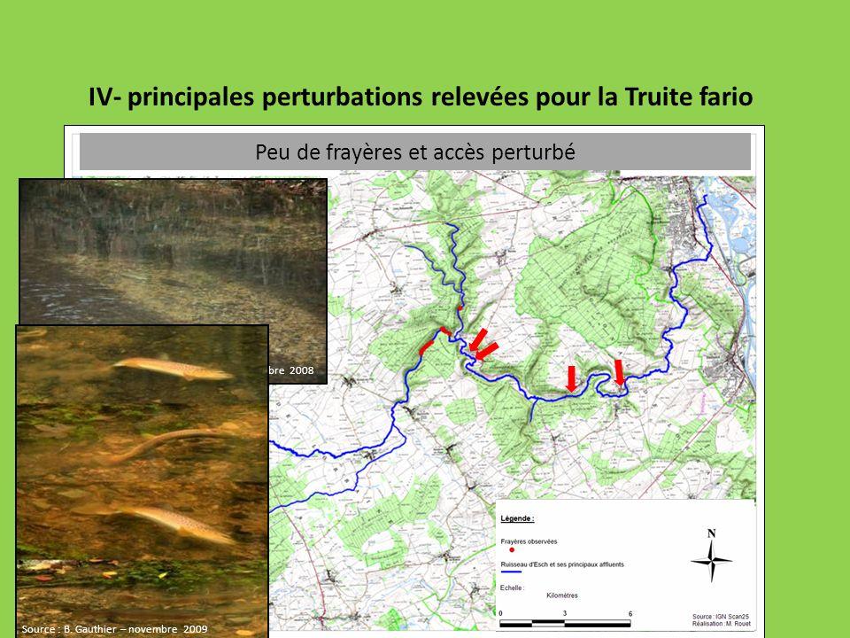 IV- principales perturbations relevées pour la Truite fario Peu de frayères et accès perturbé Source : P. Pommeret – FDAAPPMA 54– novembre 2008 Source