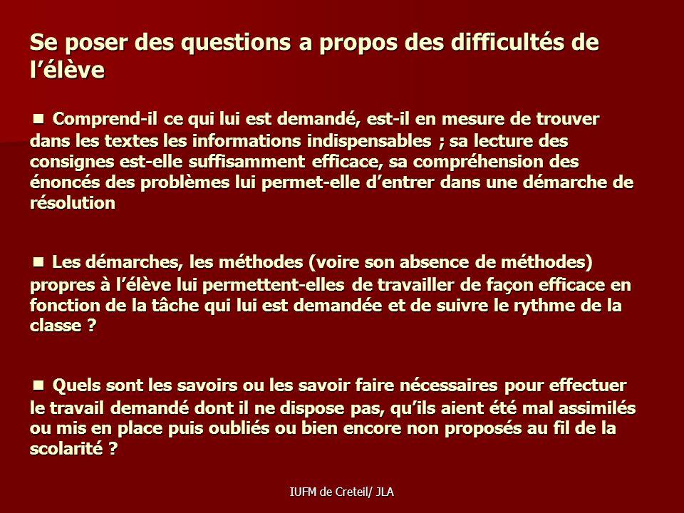 IUFM de Creteil/ JLA TÂCHES SIMPLES, TÂCHES COMPLEXES Les élèves français réussissent très correctement les tâches simples mais rencontrent des diffic