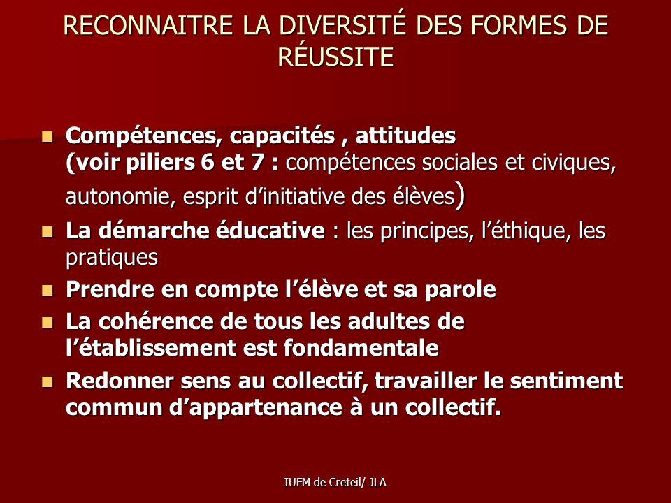 IUFM de Creteil/ JLA Un objectif possible : Un objectif possible : construire des documents dévaluation différenciés pour les enseignants et les paren