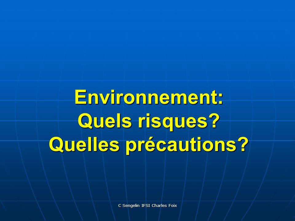 C Sengelin IFSI Charles Foix Environnement: Quels risques? Quelles précautions?