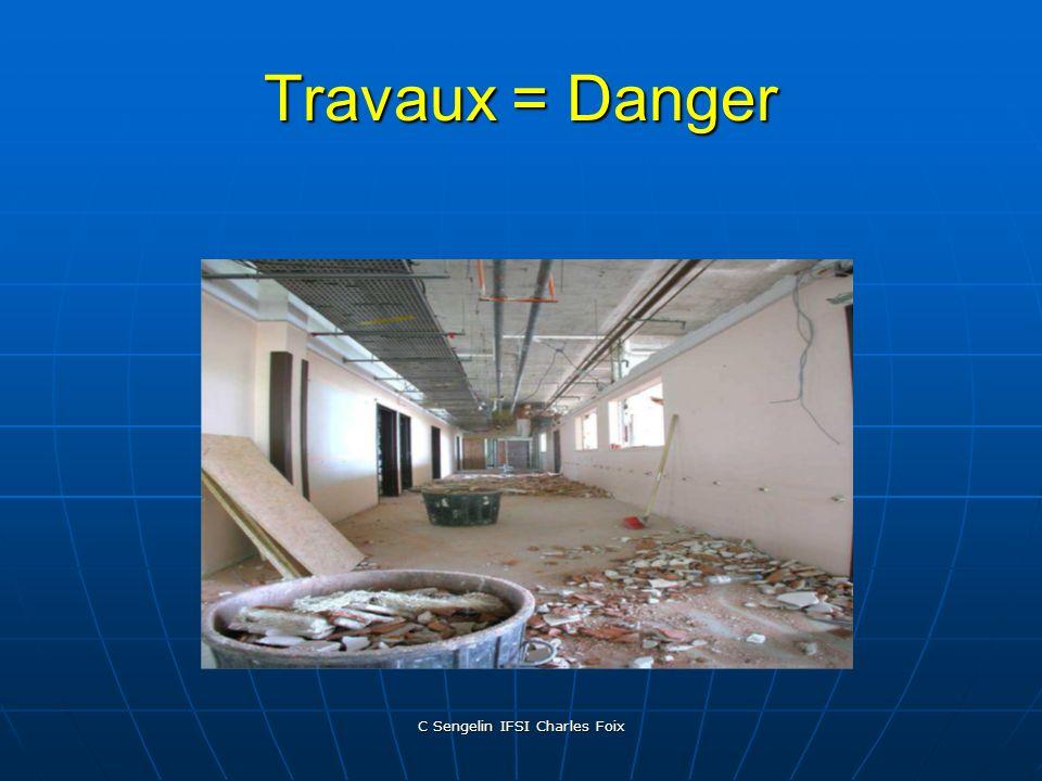 C Sengelin IFSI Charles Foix Travaux = Danger Dissémination de microorganismes Dissémination de microorganismes – Par les « poussières » (Aspergillus)