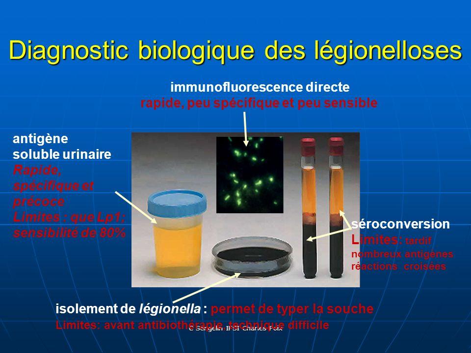 C Sengelin IFSI Charles Foix Examens biologiques et diagnostic de légionellose Isolement de la souche :prelvt bronchopulm, secrétions bronchiques Isol