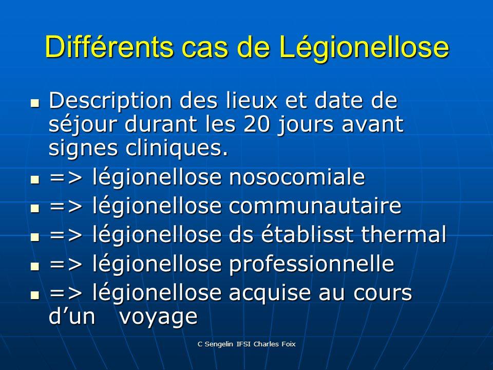 C Sengelin IFSI Charles Foix Conduite à tenir devant une suspicion de légionellose Relevé méticuleux des activités et des lieux fréquentés. Relevé mét