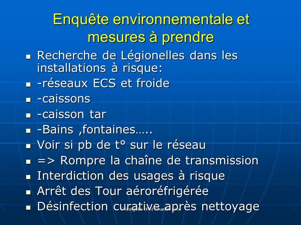 C Sengelin IFSI Charles Foix Différents cas de Légionellose Description des lieux et date de séjour durant les 20 jours avant signes cliniques. Descri