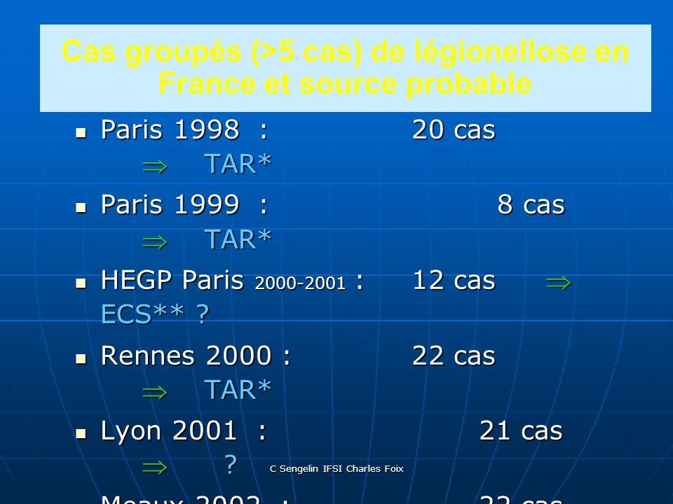 C Sengelin IFSI Charles Foix Les légionelloses en France 200 en 1997 200 en 1997 > 400 en 1999 > 400 en 1999 800 en 2001 800 en 2001 Nb: DO ++++ depui
