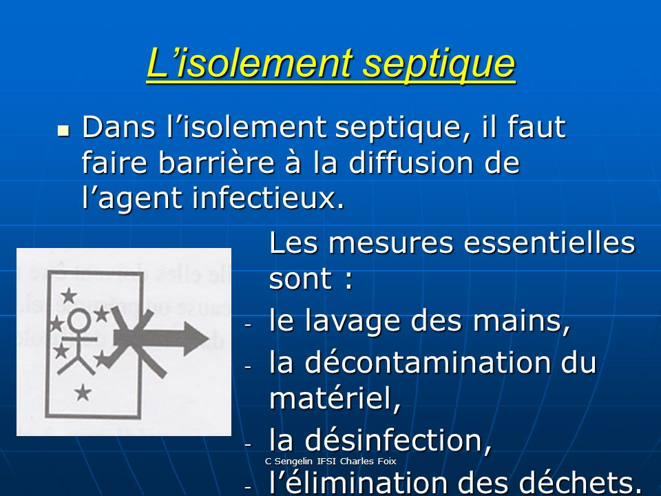 C Sengelin IFSI Charles Foix Lisolement septique Dans lisolement septique, il faut faire barrière à la diffusion de lagent infectieux.
