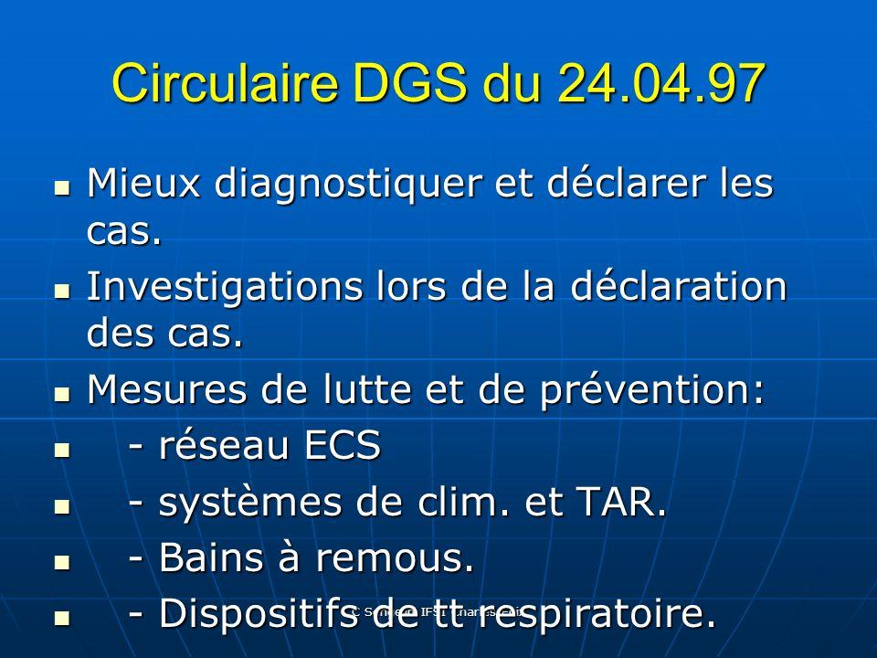 C Sengelin IFSI Charles Foix Cadre législatif Circulaire DGS n°97/311 du 24.04.97 Circulaire DGS n°97/311 du 24.04.97 Circulaire DGS n°98/771 du 31.12