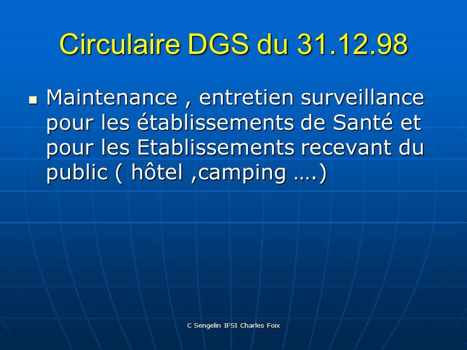 C Sengelin IFSI Charles Foix Circulaire DGS du 24.04.97 Mieux diagnostiquer et déclarer les cas. Mieux diagnostiquer et déclarer les cas. Investigatio