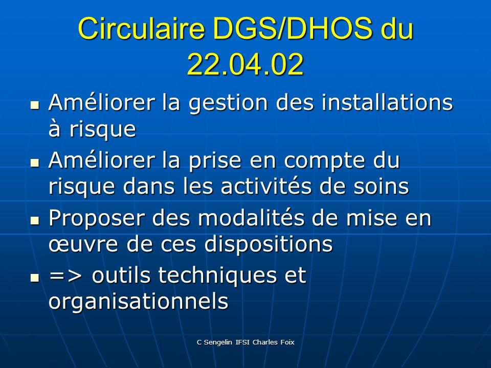 C Sengelin IFSI Charles Foix Circulaire DGS du 31.12.98 Maintenance, entretien surveillance pour les établissements de Santé et pour les Etablissement