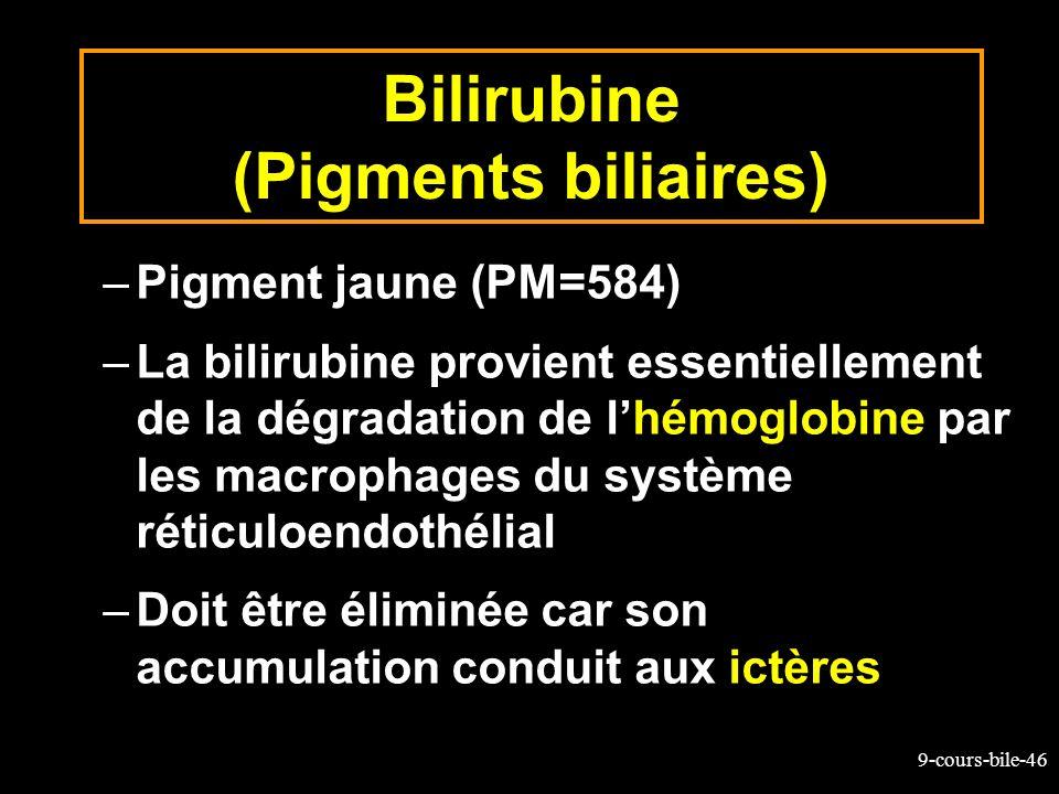 9-cours-bile-46 Bilirubine (Pigments biliaires) –Pigment jaune (PM=584) –La bilirubine provient essentiellement de la dégradation de lhémoglobine par