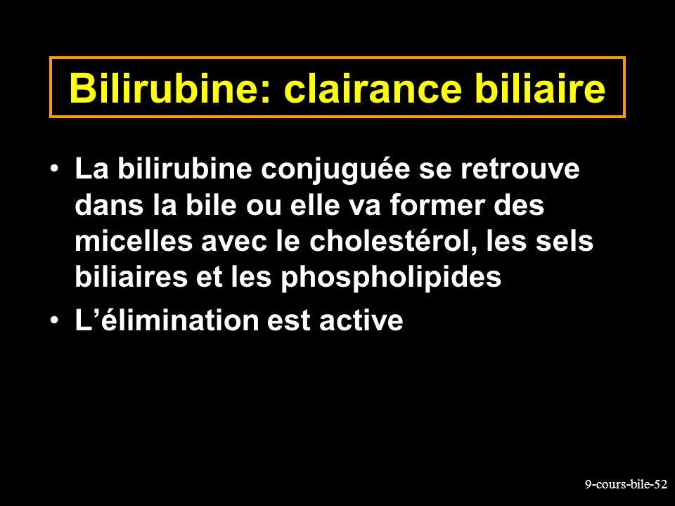 9-cours-bile-52 Bilirubine: clairance biliaire La bilirubine conjuguée se retrouve dans la bile ou elle va former des micelles avec le cholestérol, le