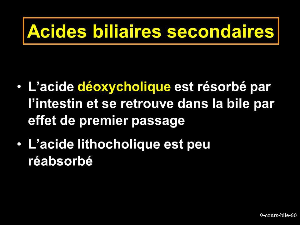 9-cours-bile-60 Acides biliaires secondaires Lacide déoxycholique est résorbé par lintestin et se retrouve dans la bile par effet de premier passage L
