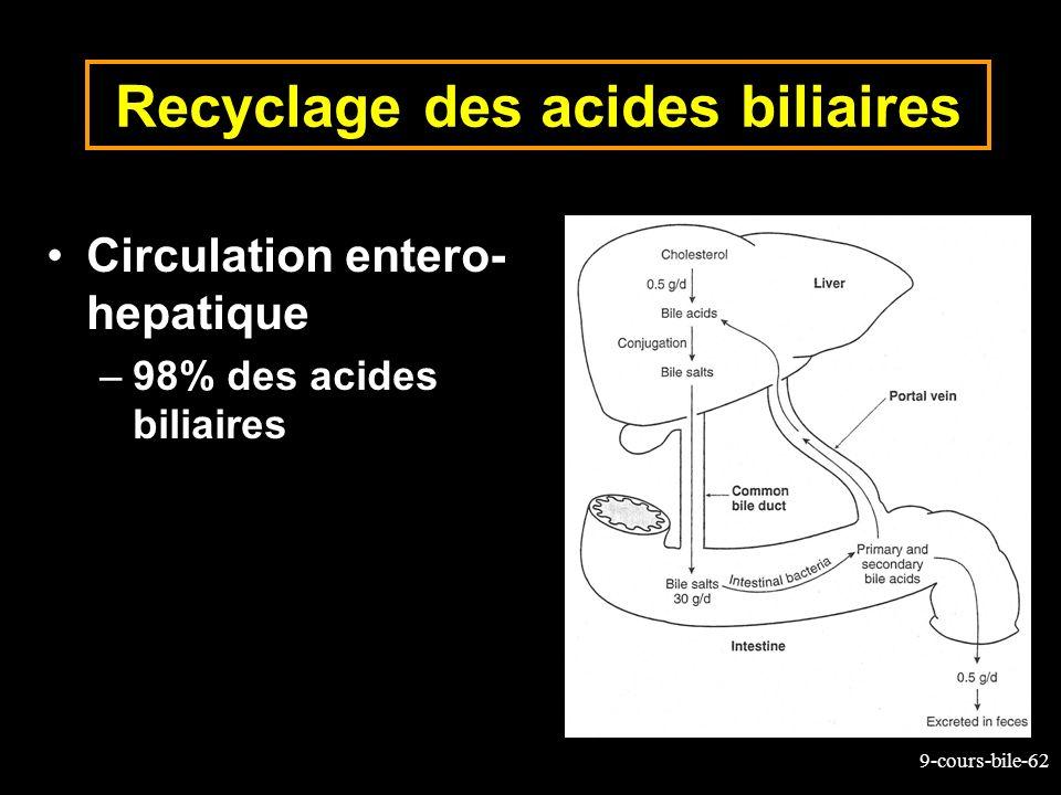 9-cours-bile-62 Recyclage des acides biliaires Circulation entero- hepatique –98% des acides biliaires