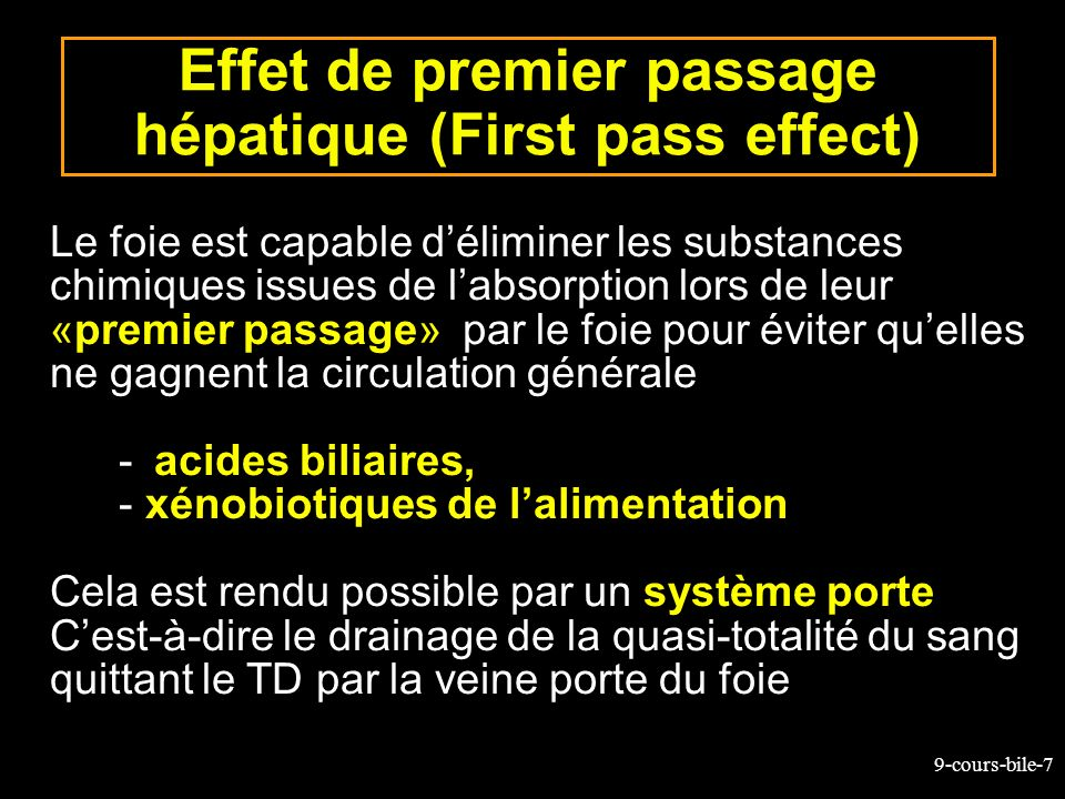 9-cours-bile-7 Effet de premier passage hépatique (First pass effect) Le foie est capable déliminer les substances chimiques issues de labsorption lor