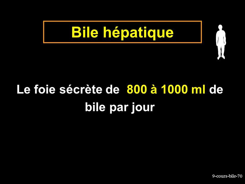 9-cours-bile-70 Bile hépatique Le foie sécrète de 800 à 1000 ml de bile par jour