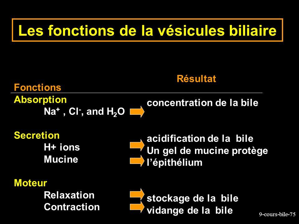 9-cours-bile-75 Les fonctions de la vésicules biliaire Fonctions Absorption Na +, Cl -, and H 2 O Secretion H+ ions Mucine Moteur Relaxation Contracti