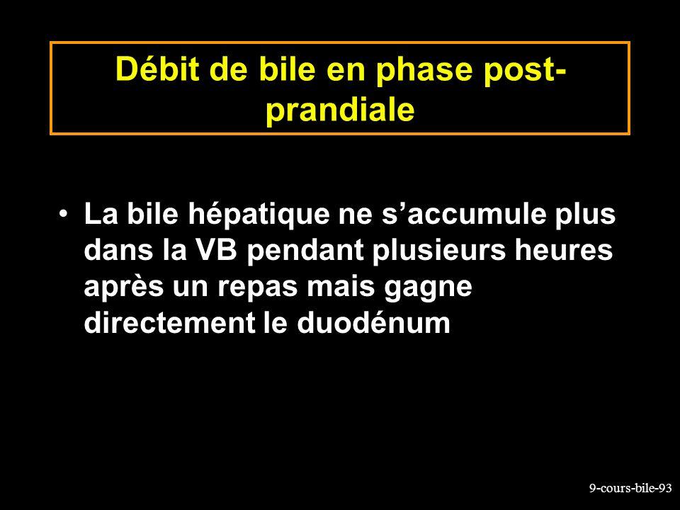 9-cours-bile-93 Débit de bile en phase post- prandiale La bile hépatique ne saccumule plus dans la VB pendant plusieurs heures après un repas mais gag