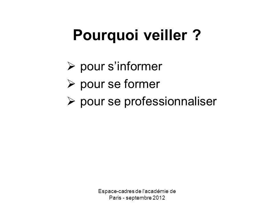 Espace-cadres de l académie de Paris - septembre 2012 Comment veiller.