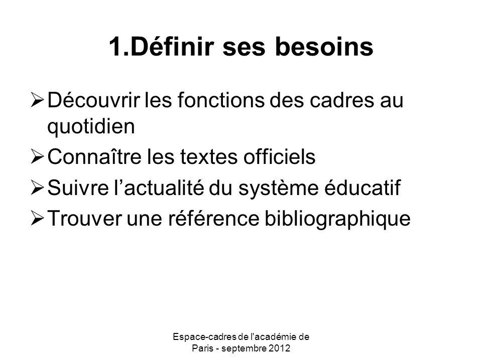 Espace-cadres de l académie de Paris - septembre 2012 2.