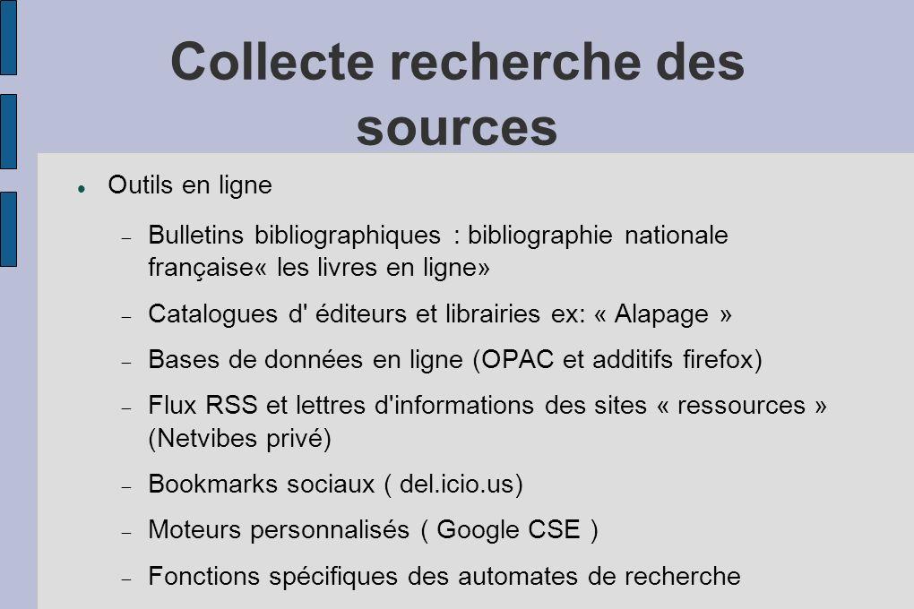 Collecte recherche des sources Outils en ligne Bulletins bibliographiques : bibliographie nationale française« les livres en ligne» Catalogues d éditeurs et librairies ex: « Alapage » Bases de données en ligne (OPAC et additifs firefox) Flux RSS et lettres d informations des sites « ressources » (Netvibes privé) Bookmarks sociaux ( del.icio.us) Moteurs personnalisés ( Google CSE ) Fonctions spécifiques des automates de recherche