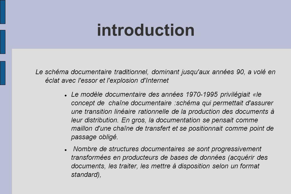 introduction Le schéma documentaire traditionnel, dominant jusqu'aux années 90, a volé en éclat avec l'essor et l'explosion d'Internet Le modèle docum