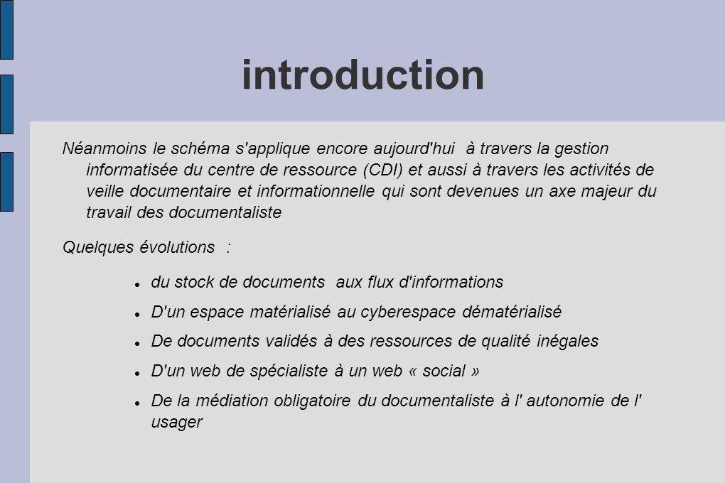 introduction Néanmoins le schéma s'applique encore aujourd'hui à travers la gestion informatisée du centre de ressource (CDI) et aussi à travers les a