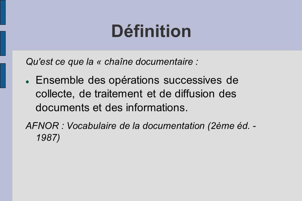 Définition Qu'est ce que la « chaîne documentaire : Ensemble des opérations successives de collecte, de traitement et de diffusion des documents et de