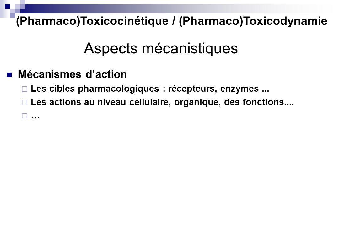(Pharmaco)Toxicocinétique / (Pharmaco)Toxicodynamie Aspects mécanistiques Mécanismes daction Les cibles pharmacologiques : récepteurs, enzymes... Les