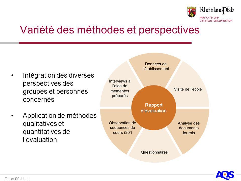Dijon 09.11.11 Variété des méthodes et perspectives Rapport dévaluation Intégration des diverses perspectives des groupes et personnes concernés Appli