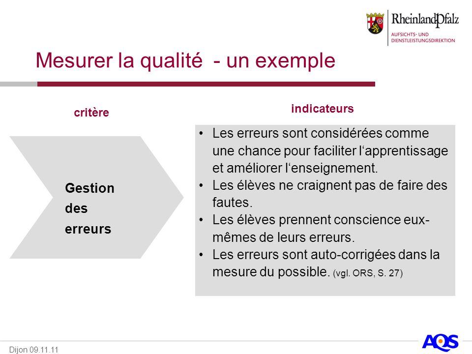 Dijon 09.11.11 Gestion des erreurs critère indicateurs Les erreurs sont considérées comme une chance pour faciliter lapprentissage et améliorer lensei