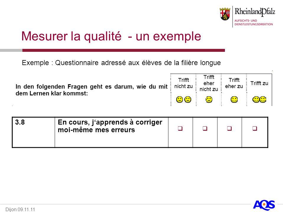 Dijon 09.11.11 Exemple : Questionnaire adressé aux élèves de la filière longue 3.8En cours, japprends à corriger moi-même mes erreurs Mesurer la quali