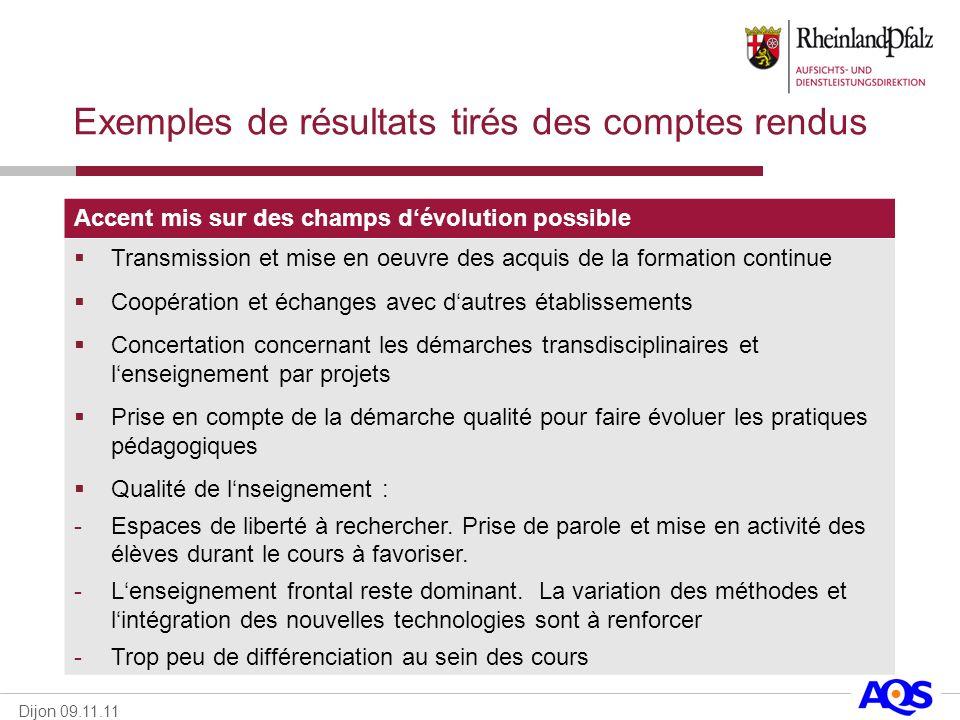 Dijon 09.11.11 Exemples de résultats tirés des comptes rendus Accent mis sur des champs dévolution possible Transmission et mise en oeuvre des acquis