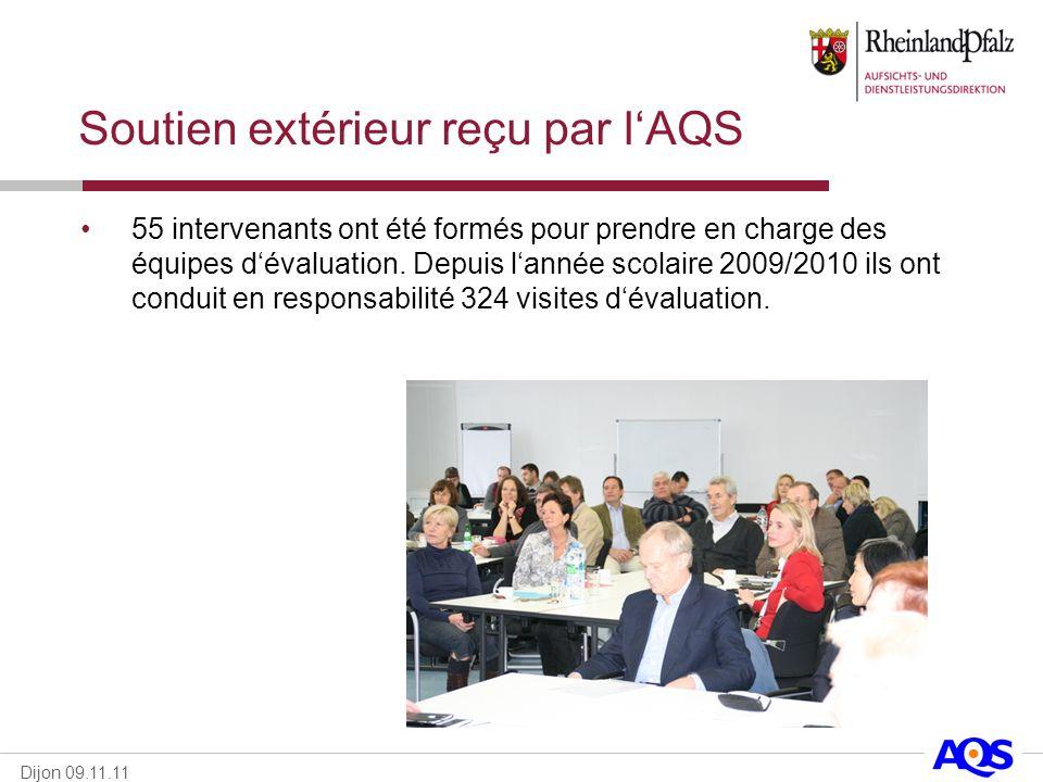 Dijon 09.11.11 Soutien extérieur reçu par lAQS 55 intervenants ont été formés pour prendre en charge des équipes dévaluation. Depuis lannée scolaire 2