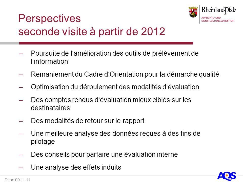 Dijon 09.11.11 Perspectives seconde visite à partir de 2012 –Poursuite de lamélioration des outils de prélèvement de linformation –Remaniement du Cadr
