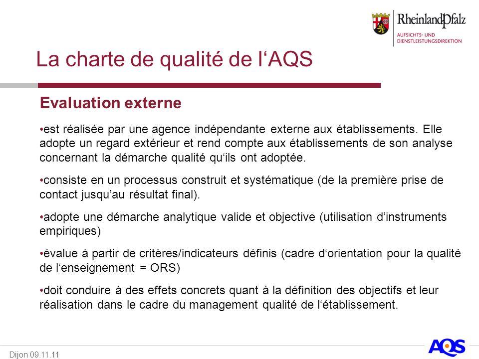Dijon 09.11.11 La charte de qualité de lAQS Evaluation externe est réalisée par une agence indépendante externe aux établissements. Elle adopte un reg