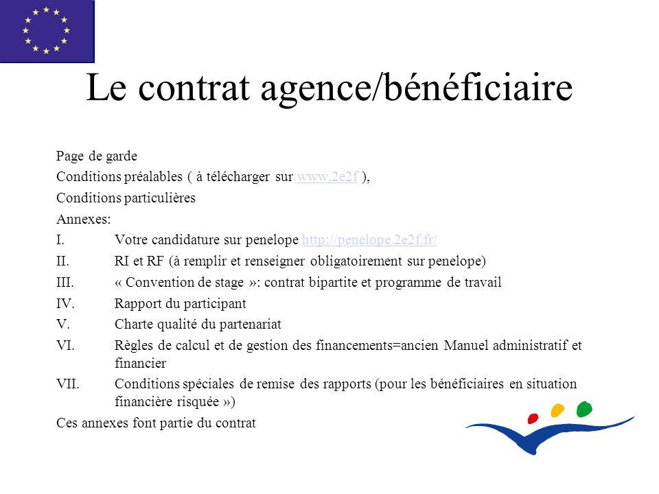 Le contrat agence/bénéficiaire Page de garde Conditions préalables ( à télécharger sur www.2e2f ),www.2e2f Conditions particulières Annexes: I.Votre candidature sur penelope http://penelope.2e2f.fr/http://penelope.2e2f.fr/ II.RI et RF (à remplir et renseigner obligatoirement sur penelope) III.« Convention de stage »: contrat bipartite et programme de travail IV.Rapport du participant V.Charte qualité du partenariat VI.Règles de calcul et de gestion des financements=ancien Manuel administratif et financier VII.Conditions spéciales de remise des rapports (pour les bénéficiaires en situation financière risquée ») Ces annexes font partie du contrat